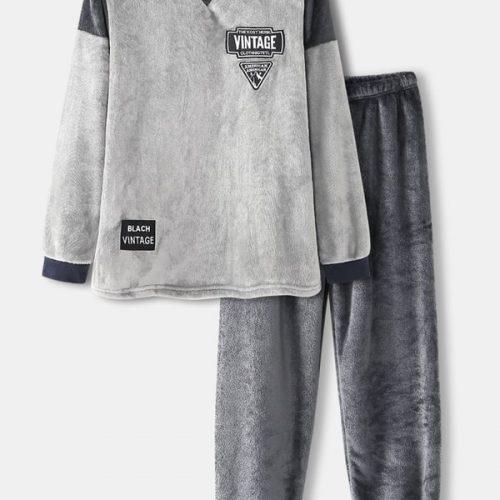 Mens Graphics Flannel Patchwork Sweatshirt Thicken Jogger Pants Home Pajama Set