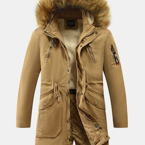 Mens Faux Fur Collar Thicken Drawstring Waist Mid-Length Hooded Coats