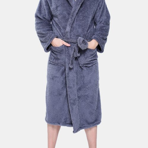 Men Flannel Pockets Bathrobe Pajama Hooded Sleepwear Robe