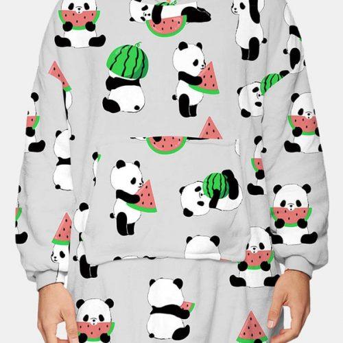 Bearboxers Animal Print Sherpa Lined Reversible Blanket Hoodie