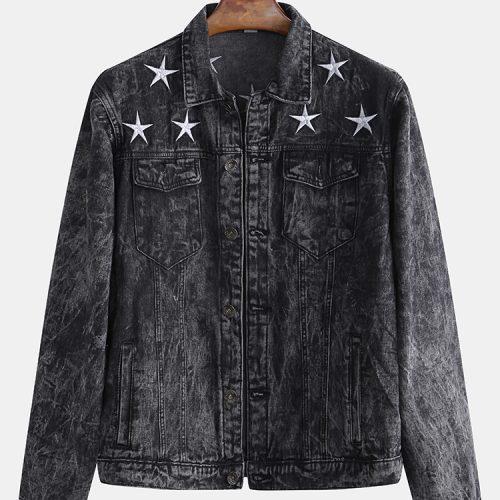 Men's Fashion Print Washed Denim Jacket