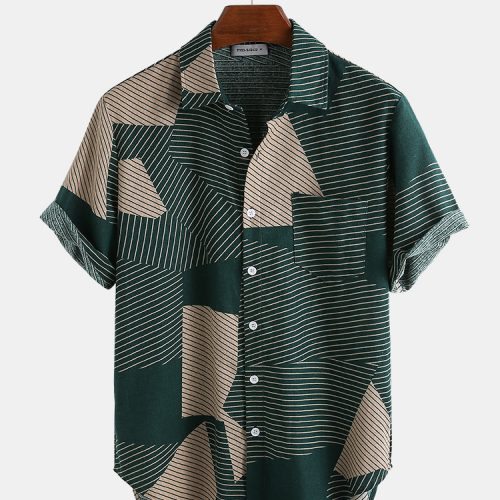 Mens Fashion Color Block Stripe Short Sleeve Casual Shirts