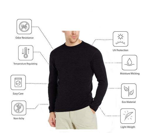 Bearboxers 100% Merino Wool Long Sleeve T-Shirt Travel Pack