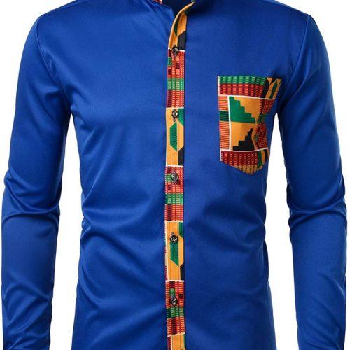 Mens Hipster African Dashiki Tribal Long Sleeve Graphic Shirts