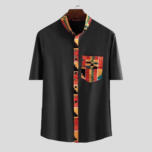 Bearboxers Floral Print Vintage Short Sleeve Ethnic Printed Shirt