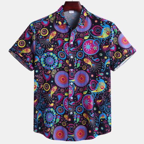 Mens Ethnic Style Printed Turn Down Collar Casual Shrts